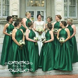 a2b2fdc6846c Cheap Under 100 Green Bridesmaid Dresses For Women 2019 Halter Corset Back A  Line Long Maid Of Honor Dress Formal Gown Wholesale
