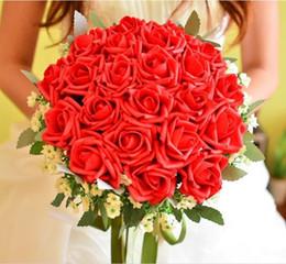 $enCountryForm.capitalKeyWord Australia - PE Artificial Flower Bridal Holding Flowers Rose Bridesmaid Bouquet Handmade Brooch Accessories Cheap Wedding Bouquet for