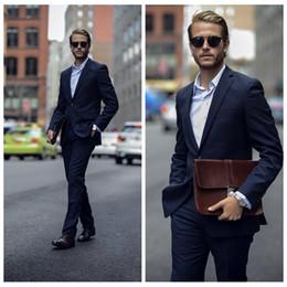 $enCountryForm.capitalKeyWord Australia - Custom 2020 Peaked Lapel Navy Blue Two Pieces Wedding Tuxedos Slim Fitted Custom Mens Business Office Suit Cheap Groom (Jacket+Pants)