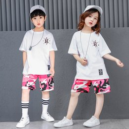 2227a68c54 2019 Summer Teenage Clothing For Girls Boys Korean Street Style Hip Hop T  Shirt And Camouflage Shorts Kids Sport Suit