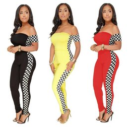 97753541bb22 New Plus Size Nice Pop Summer Plaid Printed Sexy Off Shoulder Bodysuit  Overalls Women Skinny Jumpsuit Combinaison Pantalon Femme