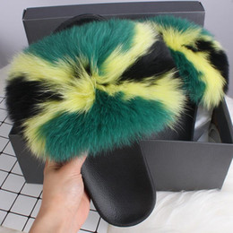 $enCountryForm.capitalKeyWord Australia - Ethel Anderson Real Fox Fur Slippers Womens Summer Slides Flip Flops Popular Fluffy Fur Sandals Beach Shoes n063