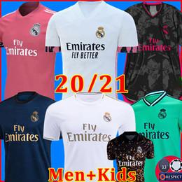 REAL MADRID maillots de football 20 21 HAZARD SERGIO RAMOS BENZEMA VINICIUS camiseta maillot de foot uniformes hommes + enfants enfant kits ensembles 2020 2021 de la soccer jerseys en Solde