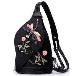 Discount korean bags lock - Embroidery flower 2019 new mini shoulder bag Korean version of the tide nylon Oxford cloth casual small bag free shippin