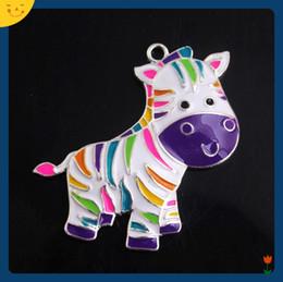 $enCountryForm.capitalKeyWord Australia - Doluo Custom New 10pcs Zinc Alloy Colorful Zebra Horse Enamel Pendants for Chunky Beads Necklace Accessory 48x40mm DIY Charm for Kids