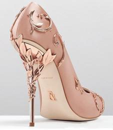 Toptan satış Ralph Russo Gül Altın Rahat Tasarımcı Düğün Gelin Ayakkabıları Moda Kadınlar Eden Topuklu Ayakkabı Için Düğün Akşam Parti Balo Ayakkabı Stokta