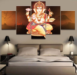 Canvas Prints Frame NZ - HD Wall Art Prints 5 Set Ganesha God Elephant Canvas Painting Modular Pictures Frame Poster Home Wedding Decoration Decoration