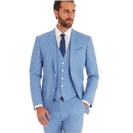 China New fashion Romantic Light blue Lounge suit & Wedding Tuxedo men suit latest coat pant simple designs costume(Jacket+Pants+Vest) cheap new latest design coat pant suppliers