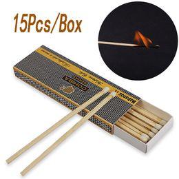 Ingrosso Partita lunga da 4 pollici in fiammifero bianco, confezione da 15 pezzi / scatola con gambo in legno vintage, attrezzo da campeggio