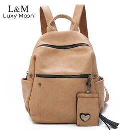 Large Packs Australia - Women Leather Backpack Teenage Girls School Bag Female Vintage Large Solid Soft Backpacks Mochila Black Back Pack Bags New Xa86h Y19051405