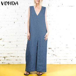 Blue Plus Size Jumpsuit Australia - 2019 Summer Rompers Womens Jumpsuits VONDA Sexy V Neck Sleeveless Long Playsuits Fashion Casual Loose Plus Size Overalls