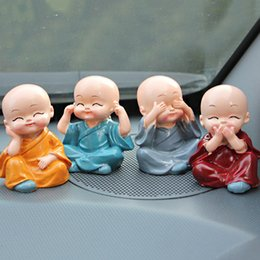 resin buddhas wholesale Australia - 4 Pieces Set Cute Car Interior Accessories Exquisite Originality Doll Maitreya Resin Little Monks Buddha Kong Fu Small Ornaments