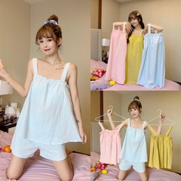 chest clothes UK - 2020 Women's solid color cotton remove thin chest pad clothes nightdress Home clothes pajamas home pajamas
