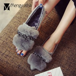09c4edb9e Rabbit fur crystal winter creepers women plus size 34-43 pointed toe slip  on loafers flat bottom moccasins warm zapatos de mujer