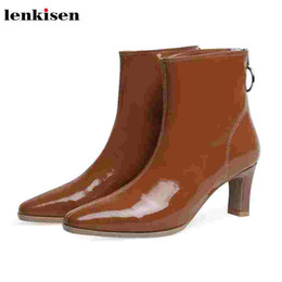 Mature woMen dresses online shopping - Lenkisen fashion simple style patent leather square toe thin high heels mature dress gorgeous winter warm women ankle boots L78