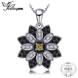 Quartz Pendants Australia - Jewelrypalace Flower Natural Taupe Smoky Quartz Black Spinel Pendant 100% 925 Sterling Silver Fine Jewelry Not Include The Chain J190529