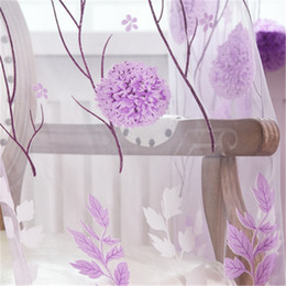 Windows Products Australia - New Classical Printed Flower Curtain Window Door Screening gauze light transmission customize finished Products purple tulle curtain H111
