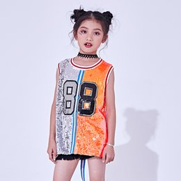 $enCountryForm.capitalKeyWord NZ - 2019 Hip Hop Dance Costumes Kids Sequin Vest Top Child Jazz Stage Dress Street Dancing Clothes Girls Performance Wear F354