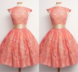 $enCountryForm.capitalKeyWord Australia - Sweet Coral Full Lace Short Prom Dresses High Collar Cap Sleeve Gold Ribbon Cupcake Cocktail Party Dress Girls Evening Dress Formal Gowns