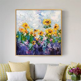 Discount sunflowers canvas oil painting - No frame sunflower landscape painting acrylic picture modern wall art hand painted oil painting for home