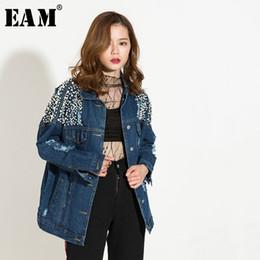 Blue Nail Coating Australia - [EAM] 2019 Spring New Fashion Turn-down Collar Long Sleeve Blue Cool Denim Nailed Holes Loose Jacket Women Coat Tide HAA80