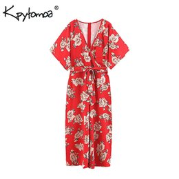 casual floral women jumpsuits UK - Vintage Chic Floral Print Jumpsuits Women 2019 Fashion Cross V Neck Loose Wide Leg Pants Sashes Playsuits Casual Rompers Femme