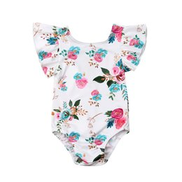 Lovely Jumpsuits Australia - Lovely Infant Baby Girl Fly Sleeve Romper Flower Printed Rabbit Tail Jumpsuit 2019 Baby Girls Summer Cotton Romper Outfits 0-18M