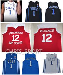$enCountryForm.capitalKeyWord Canada - Zion Williamson basketball jerseys Duke college #12 Spartanburg Day School jerseys embroidered #1 custom white blue basketball uniform