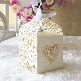 Silk invitationS online shopping - 100PCS Sweet Lace Sculpture Candy Boxes Design With Silk Ribbon Invitations Cards Birthday Party Festival Ceremony Weeding Invitation