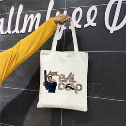 wholesale canvas movie prints Canada - Evil Dead Boomstick Movie Cartoon Printed Canvas Shoulder Bag Female Harajuku Funny Large-capacity Eco Environmental Shopper Bag
