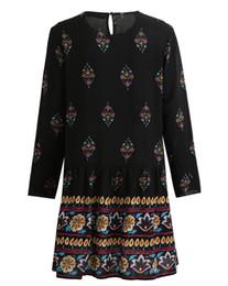 Kimono Floral Plus NZ - Women Plus Size Dress Vintage Boho Floral Print Shift Dress Keyhole Back O Neck Long Sleeve Relaxed Autumn Dress Black Vestidos