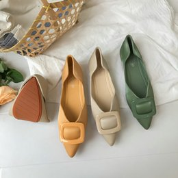 $enCountryForm.capitalKeyWord Australia - Sexy2019 Of Mouth Shallow Autumn Sharp Tide Generous Button Soft-soled Ladle Shoes Gradual Change Color Satin Face Single Shoe