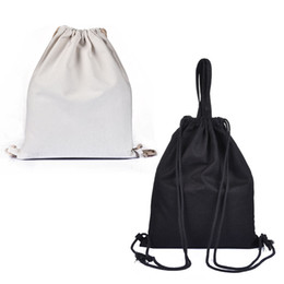 $enCountryForm.capitalKeyWord Australia - 32*40 cm Black White Storage Bags Backpack For Girls Canvas Drawstring Beam Port Back Travel Shoes Storage Bags