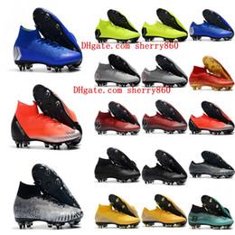 Neymar shoes New online shopping - 2019 new arrival mens soccer shoes Mercurial superfly VII Elite CR7 SG AC soccer cleats Neymar football boots chuteiras cheap blue