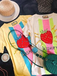 Wholesale Womens Designer T Shirts Cute style Strawberry Printing Comfortable Summer short sleeve Round T shirts
