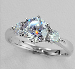 $enCountryForm.capitalKeyWord NZ - Unique Three Stone Total 3.2ct Synthetic Diamond Wedding Engagement Ring for Bride Sterling Silver Pt950 Stamped 18K White Gold Plated