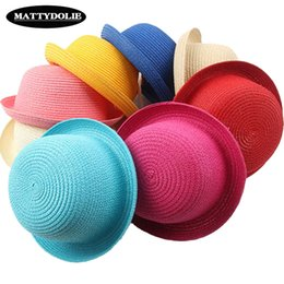 girls pink straw sun hats NZ - MATTYDOLIE Wholesale straw hat girl boy summer hat dome beach children panama pure color men and women general sun