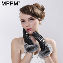 Leather Gloves For Ladies Australia - MPPM Winter Genuine Leather Gloves For Women with Rex Rabbit Fur Sheepskin Gloves with Fur Lining Ladies