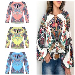 design female shirts Australia - Fashion Women T Shirt Bohemian Style Blouse Lantern Sleeve O-neck Shirts Tops Causal Loose Blouses Pullover Female Design Blusas Clothes New