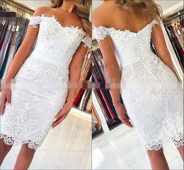 White Beaded Short Prom Dresses Australia - 2019 White Lace Beaded Sheath Short Prom Dresses With Sleeves Off The Shoulder Graduation Party Evening Gowns Elegant Vestido De Fiesta