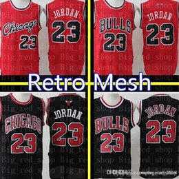 bbcd28c270a 23 Michael Chicago Bull Jersey Retro Mesh Black Red White Green Embroidery  Basketball Jerseys Cheap wholesale