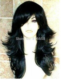 fast cosplay shipping Australia - Women ladies Cosplay fast shipping@@ synthetic fibre long black wavy women's hair wig