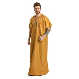 688c5631ec0 Muslim Arab Clothing Men Dress Thobes Kaftan Casual Button Short Sleeve Middle  East Dubai Robe Male Islamic Kaftan Mar13