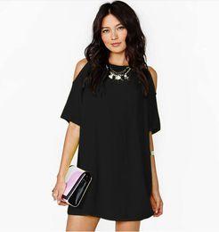 $enCountryForm.capitalKeyWord Australia - Fashion-Women Chiffon Dress O Neck Off the Shoulder Casual Plus Size S- 3XL Summer Short Sleeve Europen American Fashion Clothes