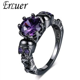 $enCountryForm.capitalKeyWord Australia - Austrian Gothic Black Gun Plated Style Retro Skull Rings For Women Purple Crystal CZ Wedding Jewelry party trendy love gift Ring