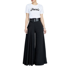 Wholesale black wide leg formal pants resale online – 6 Color Wide Leg Pant Pleated High Elastic Waist Casual Pant Trouser Women Streetwear White Black Loose Harem Pant Autumn Winter Y19071801