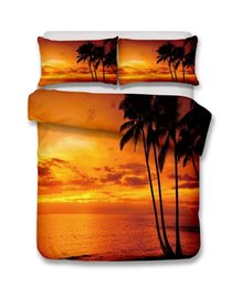 Cover Set Sheet UK - Beautiful Beach Scenery Series Coconut Trees On The Beach In Sunset 3D Bedding Set Print Duvet Cover Set Lifelike Bed Sheet