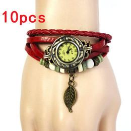 Leaf Bracelet Watch Australia - 10pcs OTOKY Fashion Leather Bracelet Watch Women Casual Dress Vintage Leaf Beads Wristwatch Luxury Quartz women Watch A30