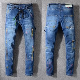 Discount oil paintings italy - New Italy Style #139# Men's Oiled Painted Hip Hop Pants Washed Skinny Cargo Denim Blue Jeans Slim Trousers Size 29-