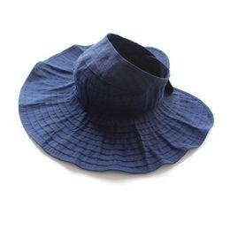 7e649de34c202 Summer Woman Sun Hat Female Solid Color Cap Korea Wild Fashion Ride Folding  Sun HatS Empty Top Hats Beach Wide Brim Visor Hat